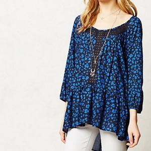 HD in Paris Anthropologie Blue Leopard Tunic Small